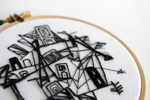 "Embroidery Illustration ""Chaotic City in Black and White"""