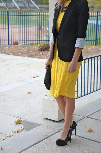 Black and yellow outfit with dress