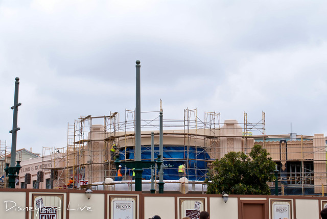 Buena Vista Street Construction - Red Car Trolley Cable Poles