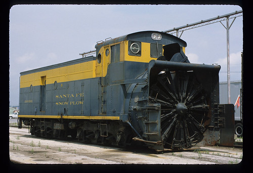 6243998255 2f85ceae5d ATSF 199361; Rotary Snow Plow; Built AT&SF 11/59 from ex locomotive tender 3769 and rotary plow 199398; Only remianing rotary plow on the Santa Fe; Work Car; July 1982
