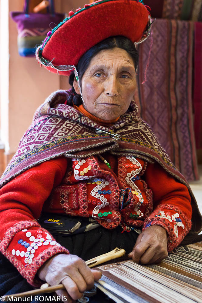 Cuzco, Peru, woman in red, weaving
