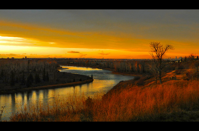 Autumn River Valley At Dusk