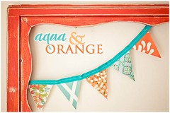 Aqua & Orange Bee Button