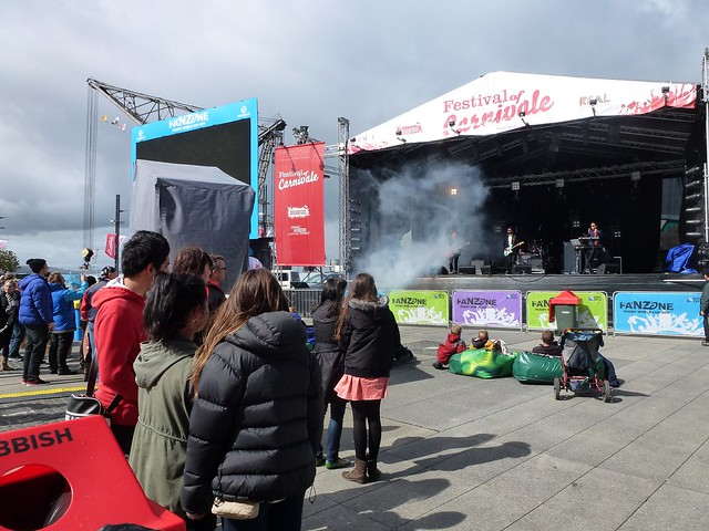 The fanzone in Wellington with the Midnight Youth playing