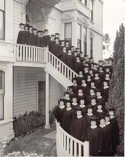 College of the Holy Names graduates on stairs