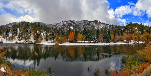 california ca city travel november autumn vacation panorama usa snow cold color reflection tree fall nature water wrightwood leaves photoshop canon landscape photo leaf interestingness day photographer stitch cs2 cloudy magic bracket picture panoramic hwy explore southern adobe nights hdr merge 1001 angelesnationalforest adjust infocus simplify jacksonlake 2011 denoise 60d topazlabs photographersnaturecom davetoussaint photoengine oloneo interstring highdynamicrangebigpine