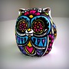 Day of the Dead Ceramic Owl Hand painted on