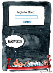 Insomnia or login to sleep illustration