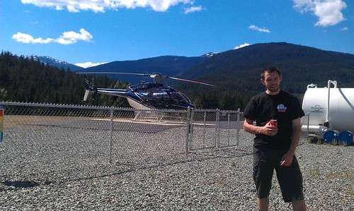 Sean at the heli port