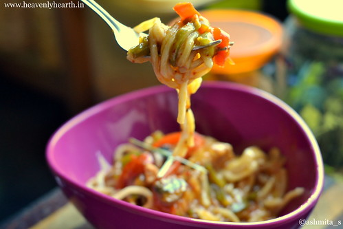 Spoonful of thai red curry noodles