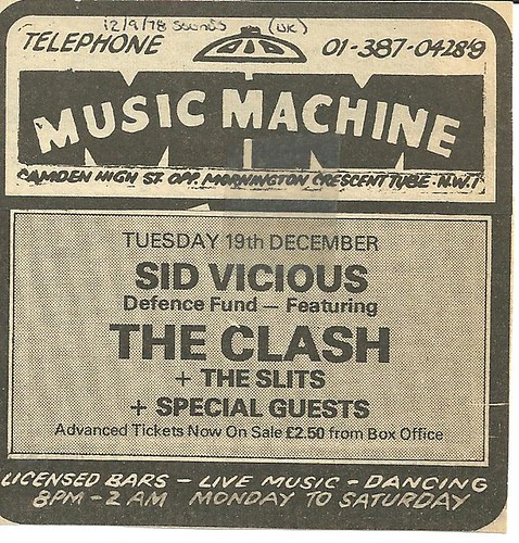 12-19-78 Sid Vicious Fund -w- Clash/Slits @ London, Eng.