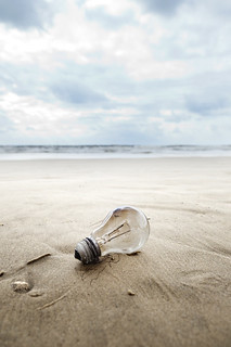Burnt Light Bulb on a Beach