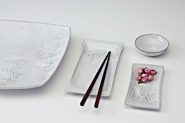 ceramic white washed plates