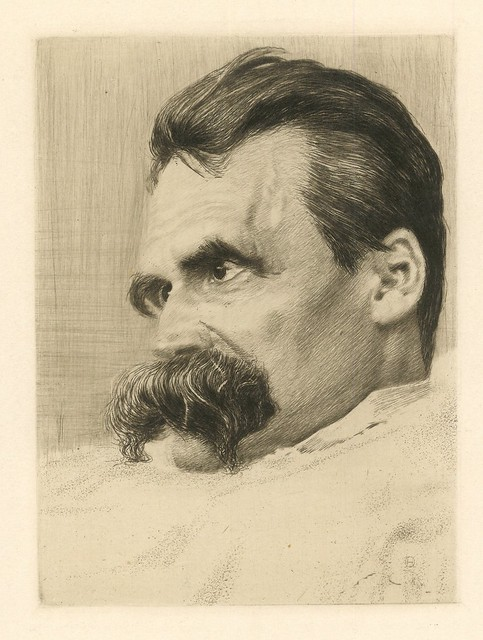 Portrait of Friedrich Nietzsche by Hans Olde.  Original Etching.  Berlin, 1899.  Pan.  Vol. V, no. 4