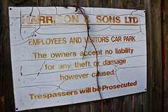 Forgotten Harrisons & Sons Carpark Sign (the factory is now demolished)