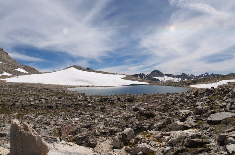We left the trail and headed cross-country near Bishop Pass Tarn on our way to upper Dusy Basin