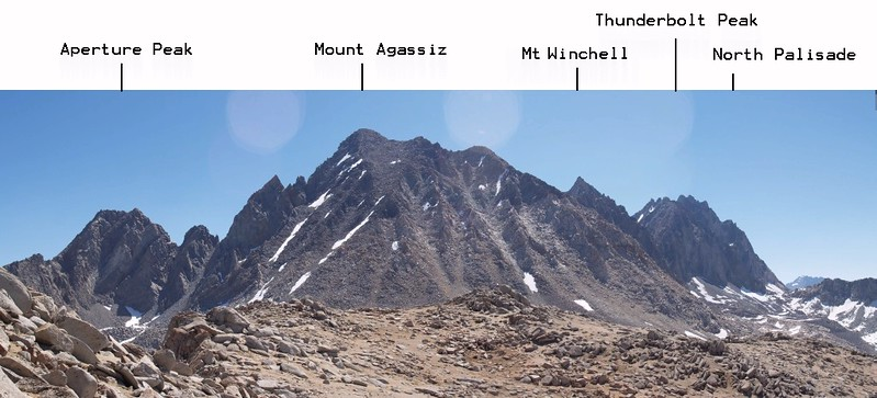 Annotated panorama from the Sierra Crest west of Bishop Pass