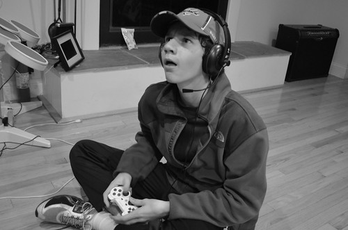 A boy playing a video game.