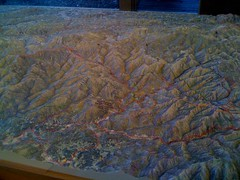 The really cool raised relief map at the Oconfalutee Visitors center. Most of my route is visible in this picture.