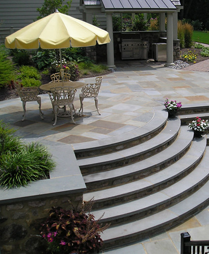 curved staircase or mortared flagstone, outdoor kitchen, grill pavillion, cut flagstone