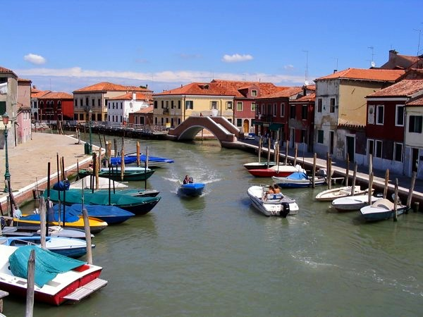 boats moored in murano