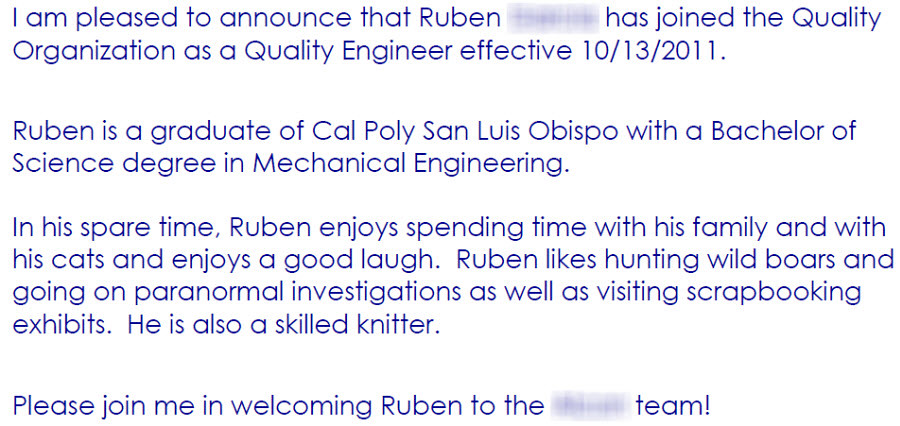 New Hire Announcement Sample