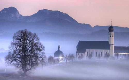 sunset mist church fog bavaria hdr schwarzenberg pilgramage wendelstein breitenstein irschenberg 3px seebergkopf stmarinusanian wilparting