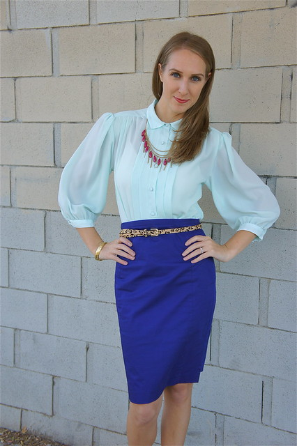Aqua blouse with royal bluse skirt