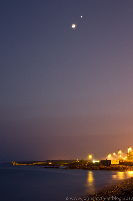 Moon Venus Jupiter over Galway 2