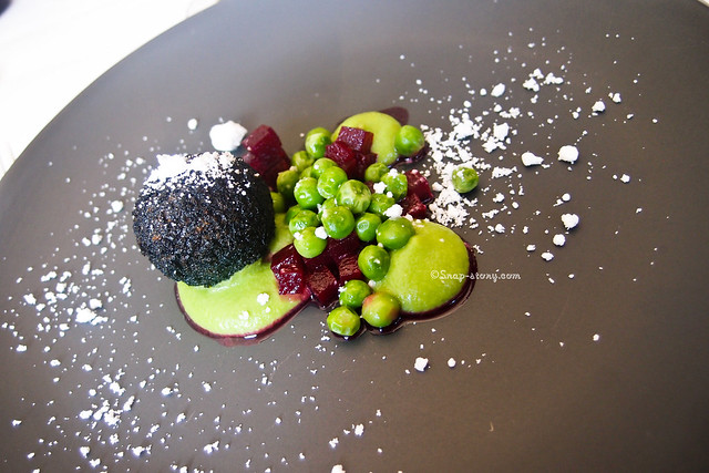 Black Pudding Croquette, Garden Peas, Dried Bay Leaf Oil, Pickled Beetroot