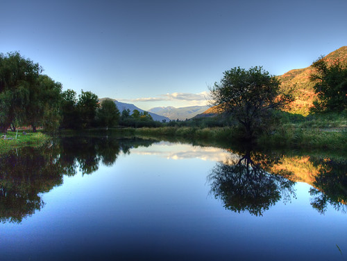 trees sky mountain lake mountains reflection tree water grass pond colorado durango hdr