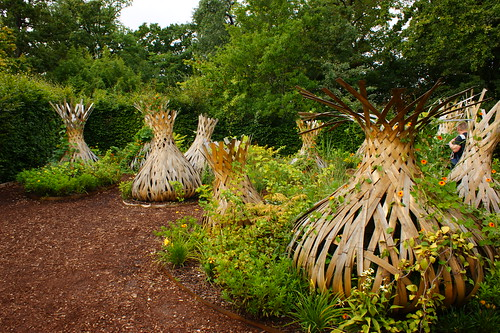 Contemporary Garden art (wooden 'onions') (2)