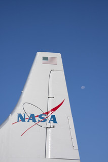 NASA's Super Guppy tail w/ the moon
