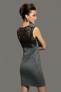 Sleeveless Lace Back Slanting Zip Front Knit Sheath Dress (Grey) | by AgathaGarcia