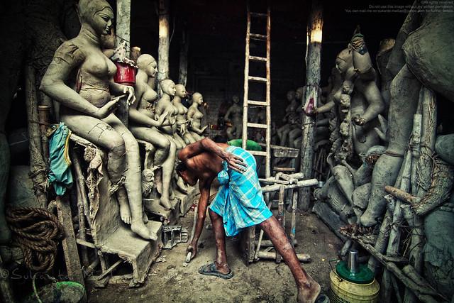 An Artist Working On Goddess Kali Idols For Upcoming Kali