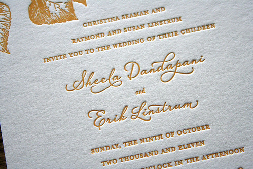 Autumn Leaves Letterpress Wedding Invitation