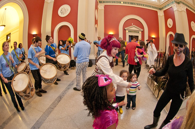 Maracatu NY gets the crowd amped at Ghouls & Gourds 2011. Who says you need to be outdoors to have a costume parade? Photo by Mike Ratliff.