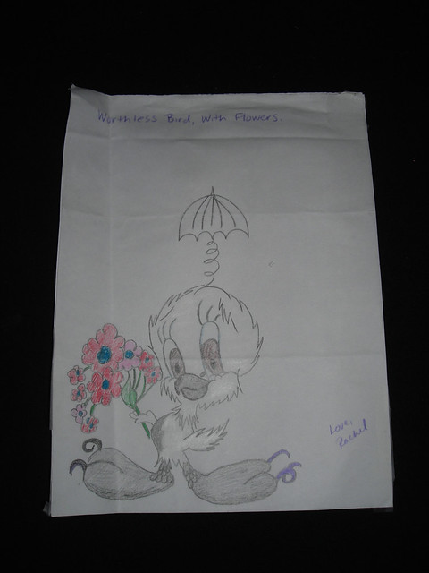 Cartoon bird with flowers. Prison art