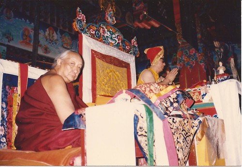 Dilgo Khyentse Rinpoche and Dagchen Sakya leading prayers from their thrones, murals, silks, nectar vase with peacock feathers, khatas by Wonderlane