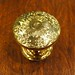 "Dimensions: 1-1/2""D x 1-3/8""H   Material: solid-brass    *This knob is unlacquered solid brass.  They will tarnish over time to a warm patina.  We can also darken them to an antique brass or oil-rubbed bronze finish for a nominal fee*  Please contact us for current availability and pricing"