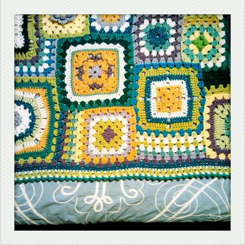 granny square sampler baby blanket