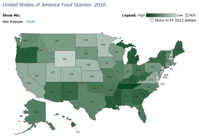 FY 2010 Per Capita Food Stamp Spending