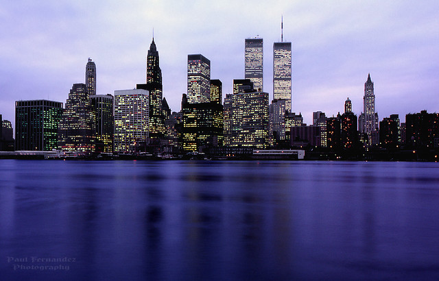 Manhattan Skyline During Early Evening in More Innocent Days