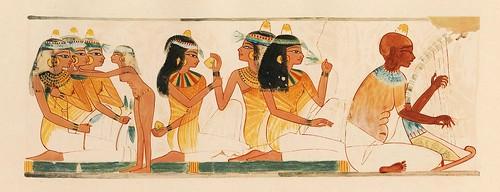 016-Mujeres y un arpista ciego en un banquete a los muertos-The tomb of Nakht at Thebes  1917- Norman de Garis Davies- © Universitätsbibliothek Heidelberg.jpeg