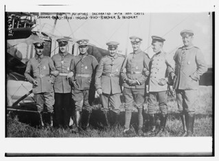 Aviators decorated with iron cross: Saenger -- Baas -- Hahn -- Ingold -- Hug -- Bremer -- Reichert  (LOC)