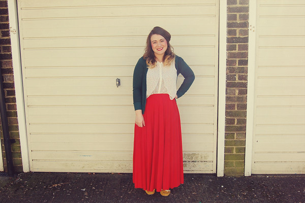 Wardrobe Block : Forever21 polka dot shirt, primark red maxi skirt, urban outfitters green cardigan