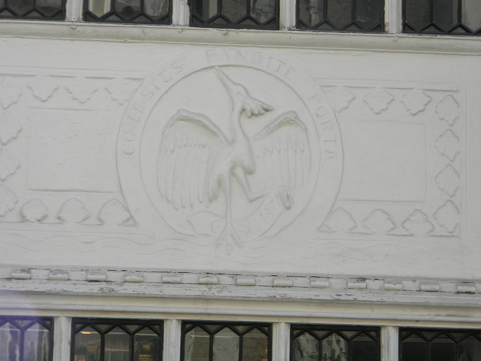 Heron in the pargeting Sun Inn, Saffron Walden. Great Chesterford to Newport