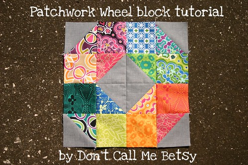 Patchwork Wheel block tutorial