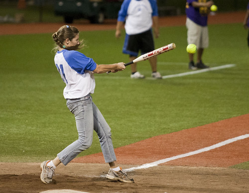 <p>One of the Kapii'olani Royals gets a hit. Every team fielded at least two women at the UH AUW Softball Tourment at Les Murakami Stadium on Sept. 30, 2011</p>