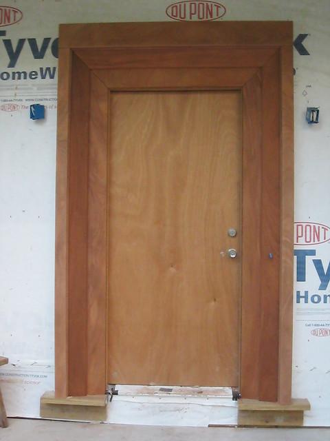 Some pictures of progress metal roof front door frame for Front door and frame
